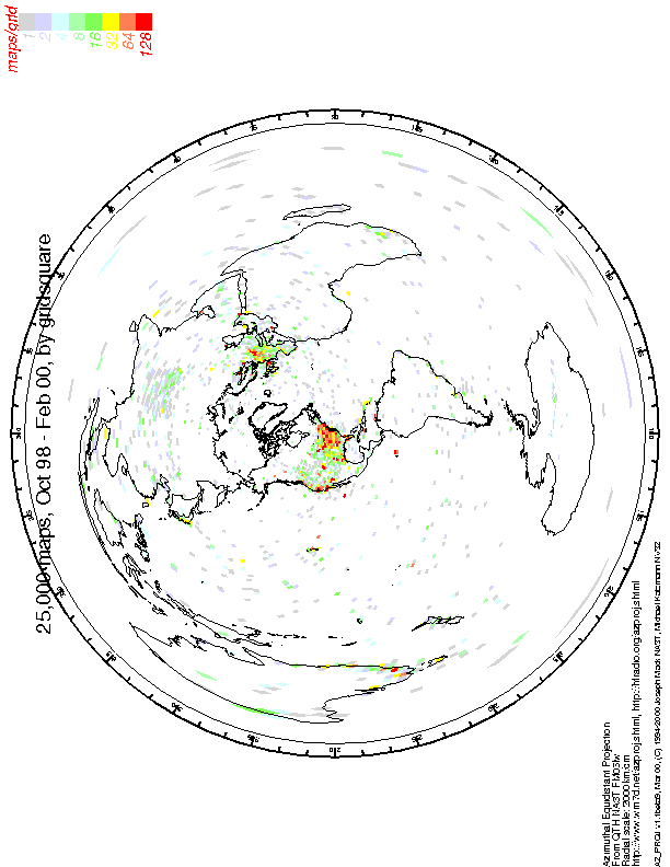 AZ_PROJ at WM7D: Azimuthal Equidistant (Great Circle) Projection Map ...